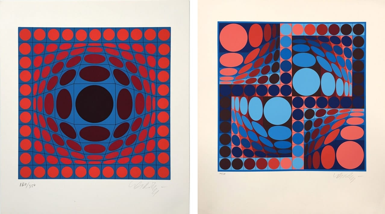Left: Victor Vasarely, Ive, 1970. Right: Victor Vasarely, Thez II, 1980. Both courtesy of Gregg Shienbaum and fineartmultiple, available to buy on fineartmultiple