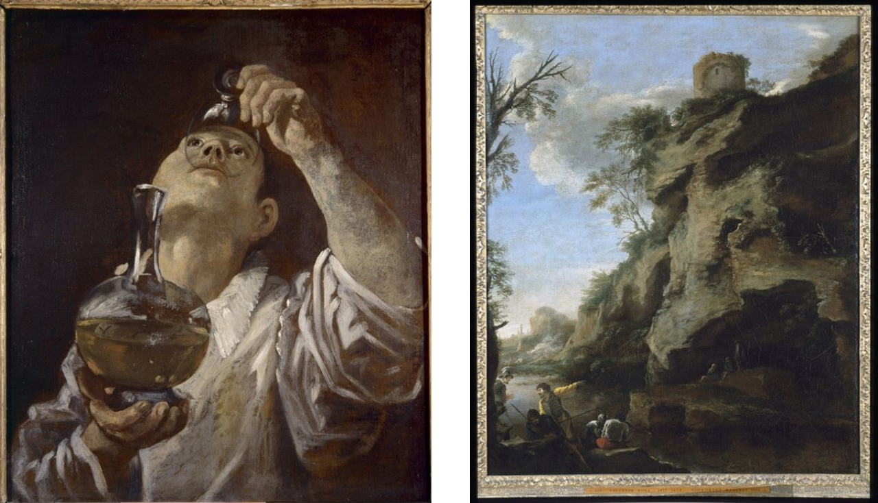 On the left, Annibale Carracci, A Boy Drinking, 1580 and on the right Salvator Rosa's A Rocky Coast, With Soldiers Studying A Plan, 1640. Images: Courtesy of Christ Church Picture Gallery