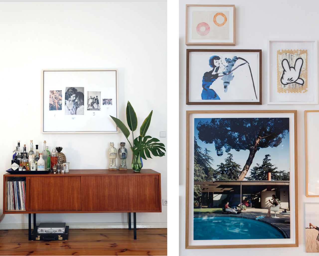 On the left: a collage work by Richard Prince and on the right a photograph by Julius Shulman. Images © Juliane Spaete