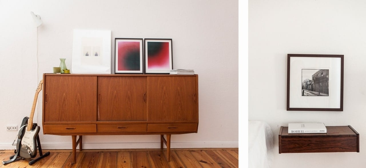 Left: Artworks by Taryn Simon and Helena Petersen. Right: A piece by David Bailey.