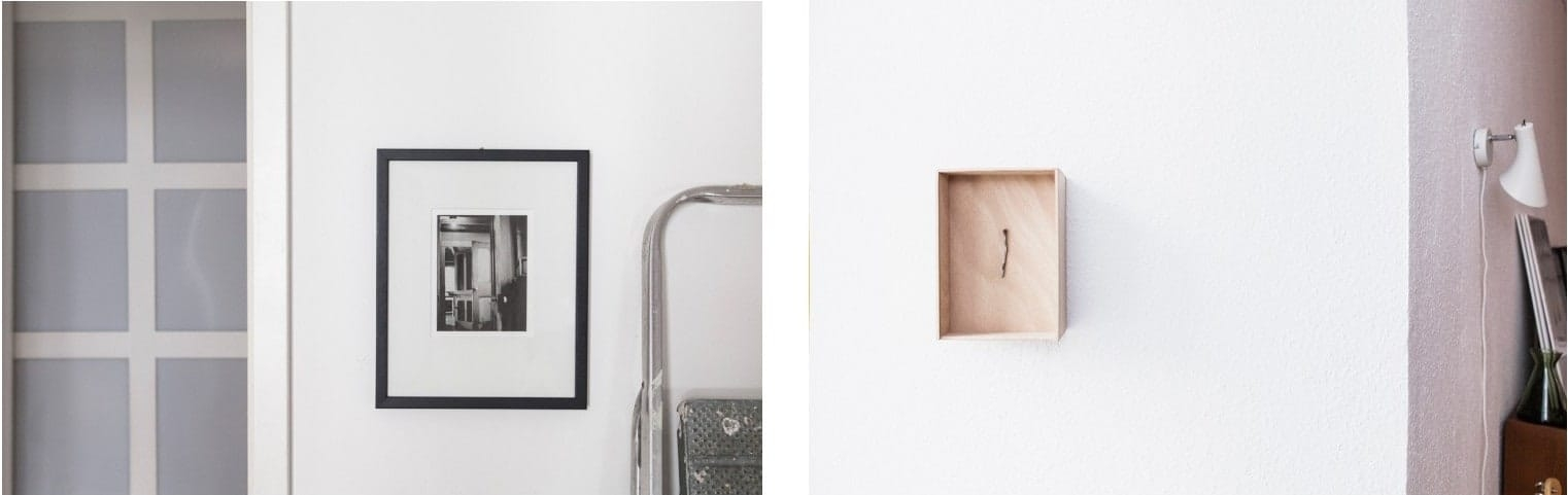 Left: Artwork by Robert Frank. Right: Mike Nelson's nail piece.