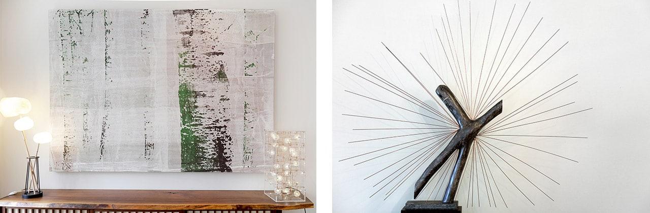 Shezad Dawood, Wolf Panel, 2013, acrylic on vintage textile. And below, Studio Drift, Fragile Future 3.14, 2015, Edition 18/20 and Dandelion Seed, Phosphorus Bronze, LED. Images: @ Käthe Kroma
