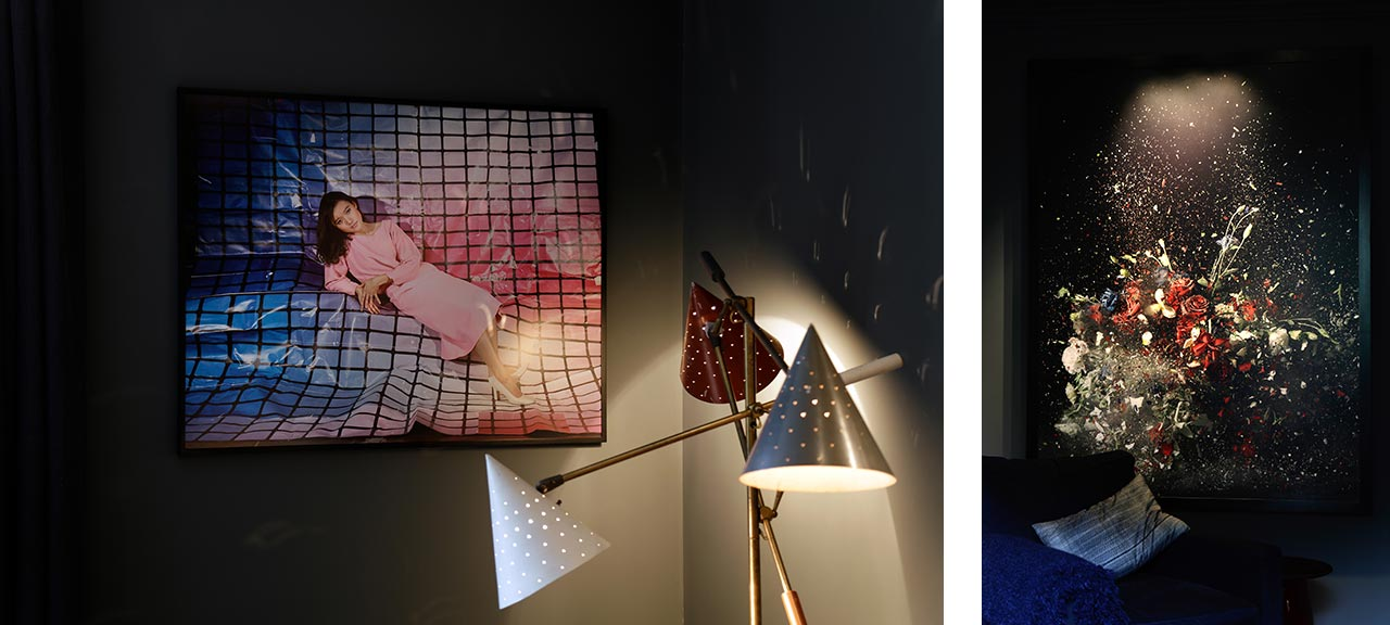 Left: Sara Cwynar, Tracy (Pink Grid Look Up), 2017, Edition 3 of 3. Right: Ori Gersht, Blow Up, from Time After Time, 2007. Images: @ Käthe Kroma