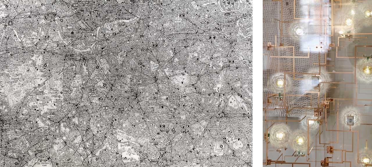 Left: Stephen Walter, The Island, 2008. Right: Details of Studio Drift, Dandelion head light. Images: @ Käthe Kroma