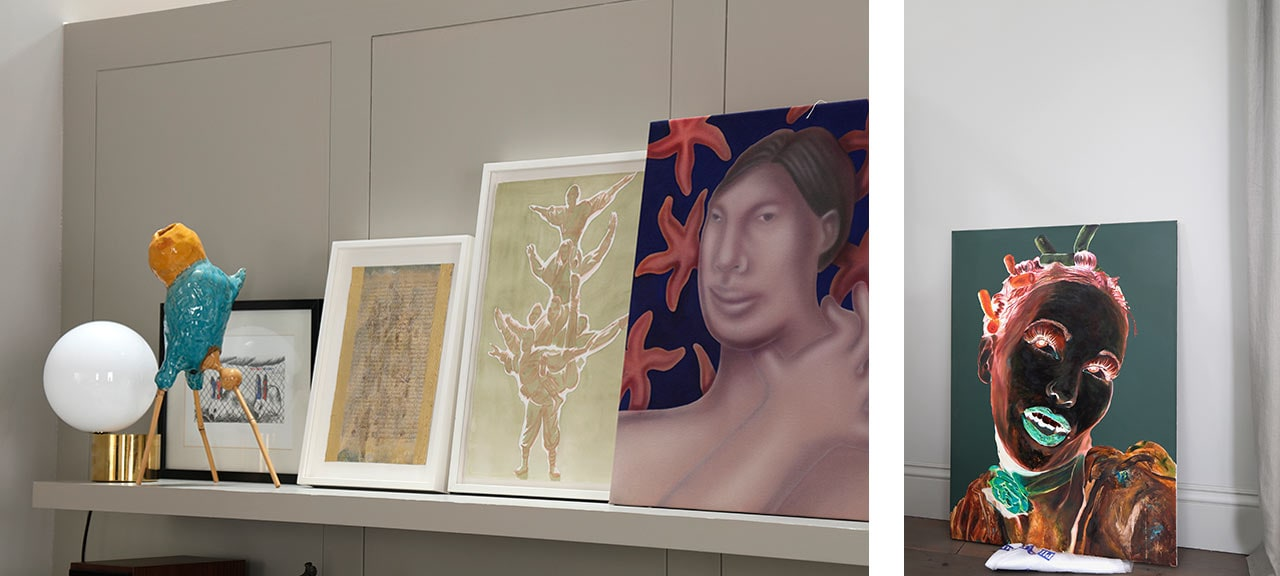Left: Works from left to right along the shelf, Sebastian Stohrer, Ceramic Sculpture, 2014, Greta Schodl, Untitled, 1970s, mixed media on hand made paper, Tim Stoner, watercolour, George Rouy, 111, 2019. Right: Artists Anonymous, Miss Piggy, 2004-5. Images: @ Käthe Kroma