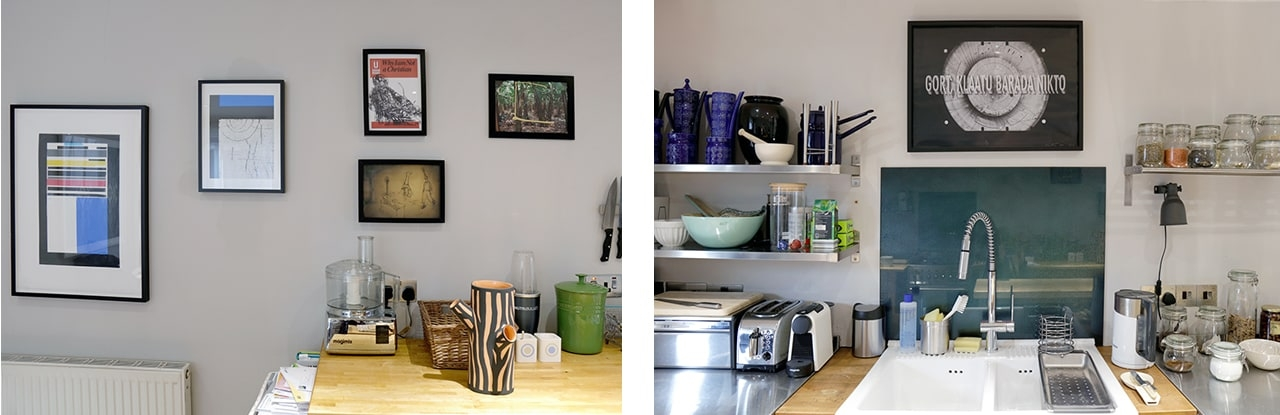 Selection of artworks hanging in Victoria Thomas and Darryl de Prez's kitchen
