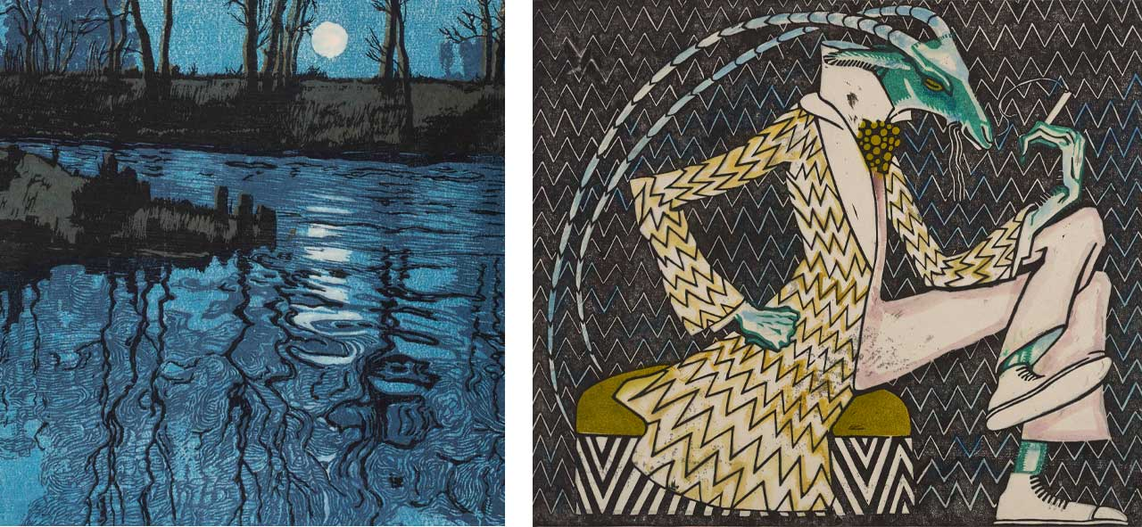 Hugo Henneberg, The Blue Lagoon, 1904, linocut, Right: Ludwig Heinrich Jungnickel, Smoking Cricket, 1910, Woodcut