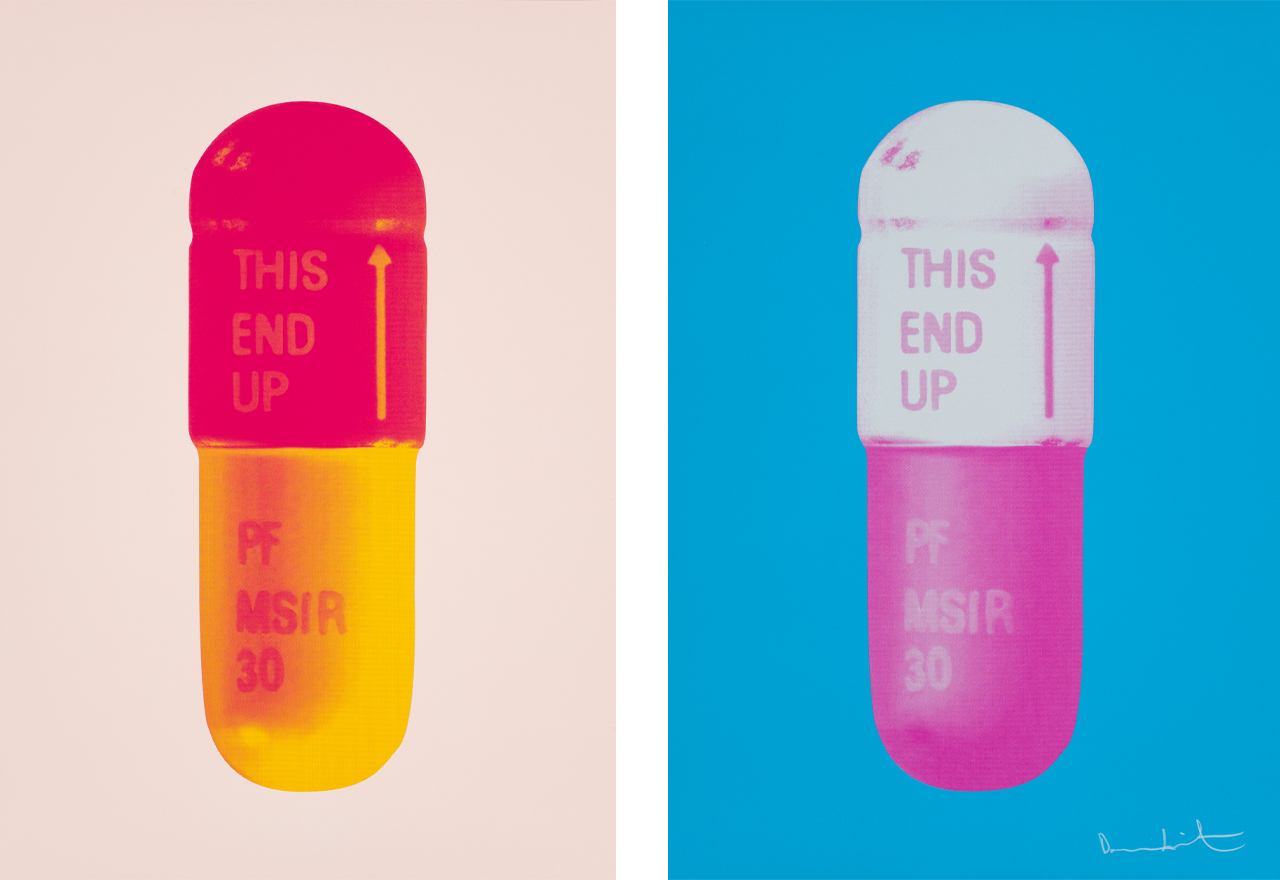 Left: Damien Hirst, The Cure - Powder Pink/Lollypop Red/Golden Yellow, 2014, Silkscreen. Right: Damien Hirst, The Cure - Vivid Blue/Cloudy Pink/Candy Floss Pink, 2015, Silkscreen