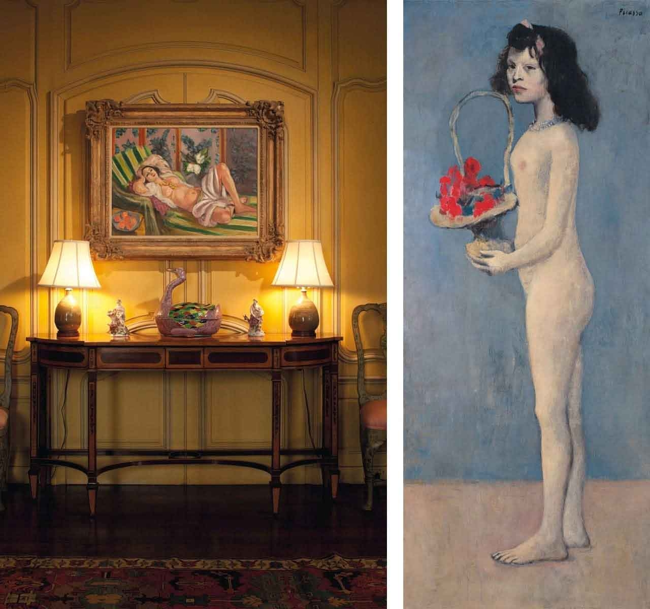 On the left Peggy and David Rockefeller's Hudson Pines Residence, hanging on the wall is Henri Matisse, Odalisque couchée aux magnolias, 1923 and on the right Pablo Picasso, Fillette à la corbeille fleurie