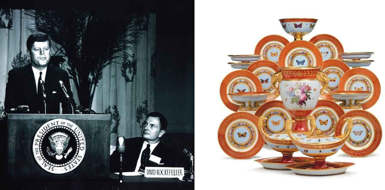On the left John F. Kennedy and David Rockefeller and on the Selections from a Sevres Porcelain Dessert Service made for Napoleon I