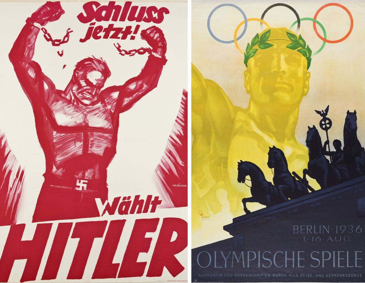 Left: Election poster NSDAP, 1932. (Münchner Stadtmuseum, Sammlung Reklamekunst). Right: Poster for the Olympic Games in Berlin, 1936. (Münchner Stadtmuseum, Sammlung Reklamekunst)