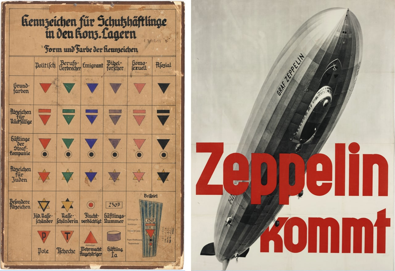 Left: Symbol chart for prisoners in protective custody, 1937. (ITS Archive, Arolsen Archives). Right: Commercial poster with zeppelin, circa 1933. (Münchner Stadtmuseum, Sammlung Reklamekunst)
