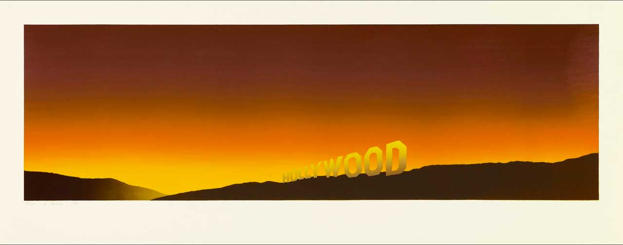 Ed Ruscha, Hollywood, 1968, Color screen print