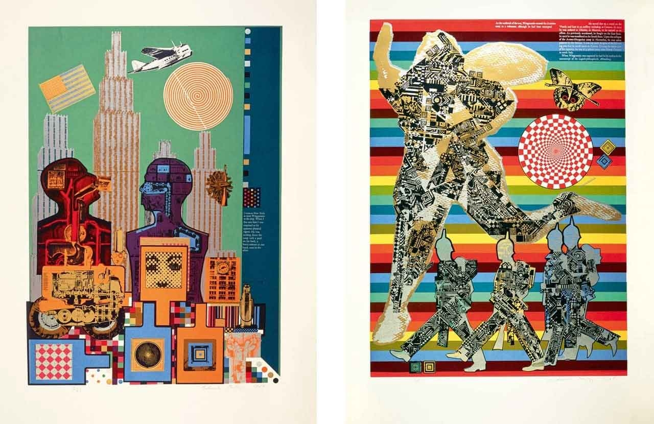 On the left Eduardo Paolozzi, Wittgenstein in New York, and on the right Eduardo Paolozzi, Wittgenstein as a Soldier, As is When, 1965