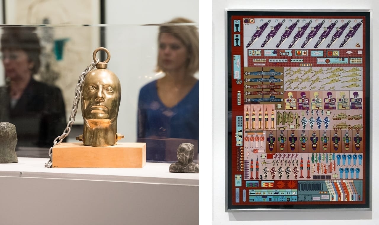On the left an installation view from the opening of Eduardo Paolozzi, Lots of Pictures—Lots of Fun. Right: Eduardo Paolozzi, Zero Energy Experiment Pile, 1970
