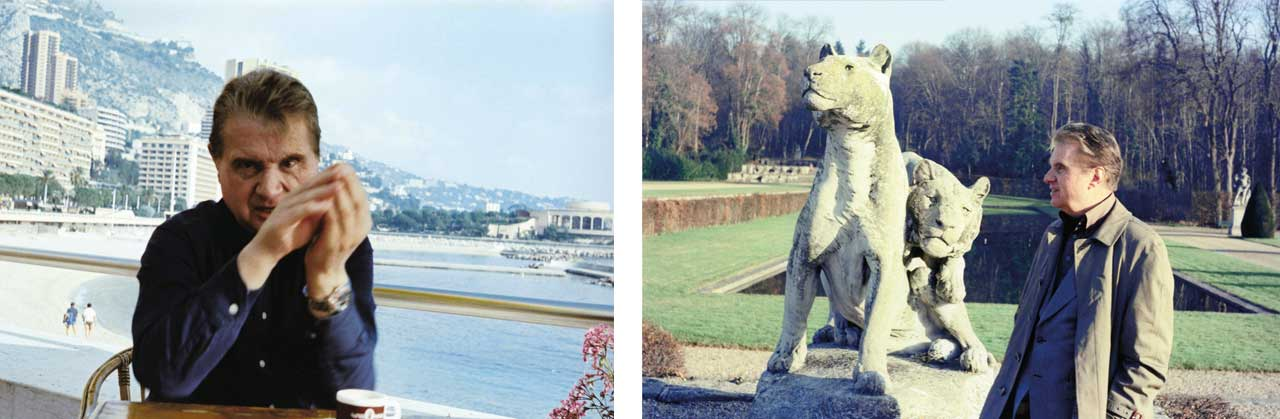 Francis Bacon in Monte-Carlo, 1981. Right: Francis Bacon in Vaux-Le-Vicomte, December, 1977
