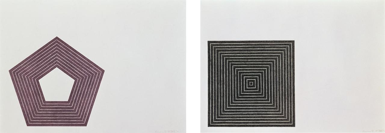 Left: Frank Stella, Charlotte Tokayer, 1972, Lithograph. Right: Frank Stella, Untitled, 1971
