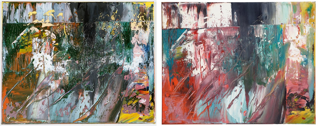 Gerhard Richter, Abstract Painting (705-2), 1989. Oil on canvas,  40 x 50 cm. Image: © Gerhard Richter 2019. Right: Fake painting