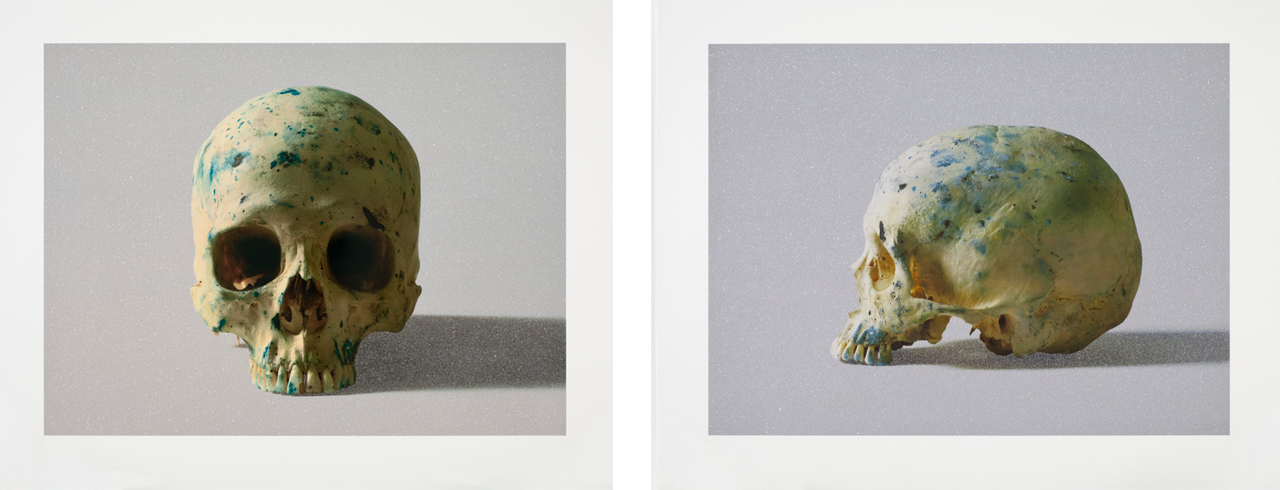 Left: Damien Hirst, Studio Half Skull, face on, 2009, Silkscreen. Right: Damien Hirst, Studio Half Skull, half face, 2009, Silkscreen