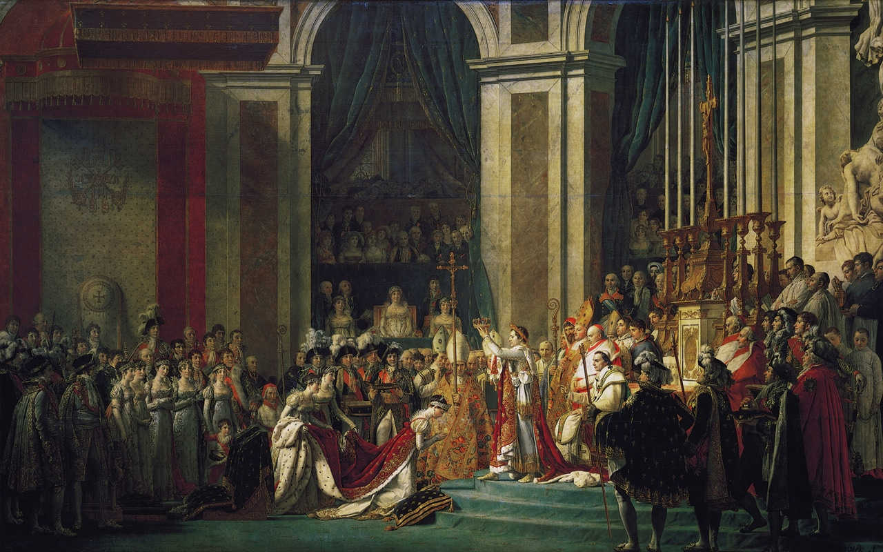 The Coronation of Napoleon, 1807, Jacques-Louis David. Image: via Wikimedia Commons