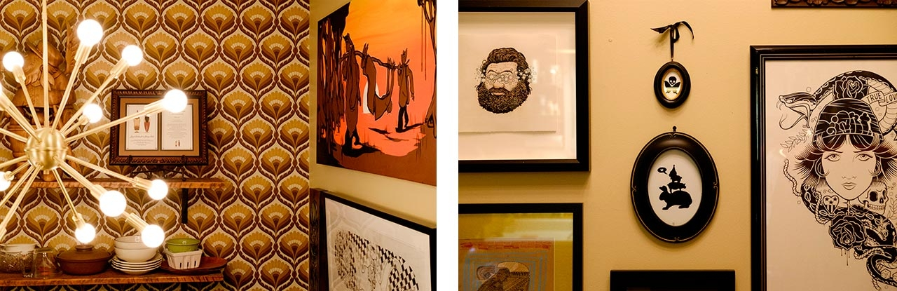 On the left another Kitchen view with a painting by Will Barras from London, and a black and white drawing below a collaboration between Jeremy and Mike Giant. On the right, a work with a bearded man by Travis Millard, oval frames with works by Dora Drimalas, and the print of the woman and snake is by the legendary Mike Giant