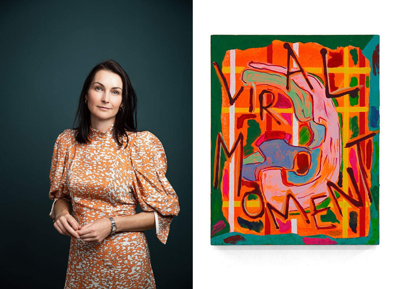 Left: A portrait of Jo Baring. Right: A work by Anna Liber Lewis included in The ING Discerning Eye Exhibition. Images: Courtesy of Jo Baring and the artist