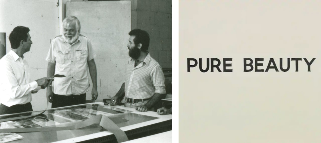 Left: John Baldessari at Cirrus. Image: via Cirrus Gallery Editions. Right: Pure Beauty (detail), a late 1960s painting by John Baldessari
