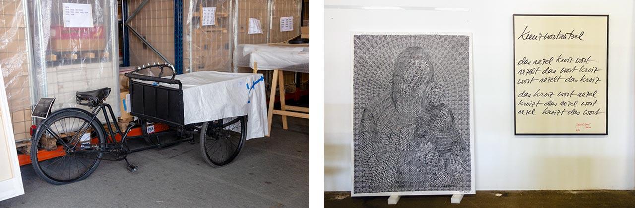Left: Joe Jones, Music Trike (Italy), 1976/88. Right: Thomas Bayrle, Madonna Cross (white), 1988. Far Right: Daniel Spoerri, Kreuzworträtsel, 1956. Images: © Petrov Ahner