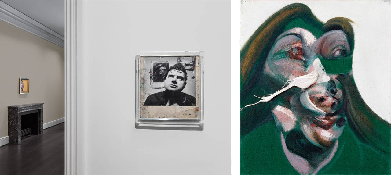 Left: Installation view of Bacon's Women, Ordovas Gallery, New York, 2018. Photo: Maris Hutchinson. Courtesy of Ordovas Gallery, New York. Right: Francis Bacon, Study for Head Of Isabel Rawsthorne, 1967. Courtesy of Ordovas Gallery, New York