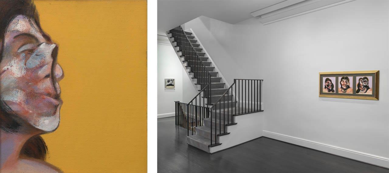 Left: Francis Bacon, Portrait of Henrietta Moraes, 1969. Courtesy of Ordovas Gallery, New York. Right: Installation view of Bacon's Women, Ordovas Gallery, New York, 2018. Photo: Maris Hutchinson. Courtesy of Ordovas Gallery, New York