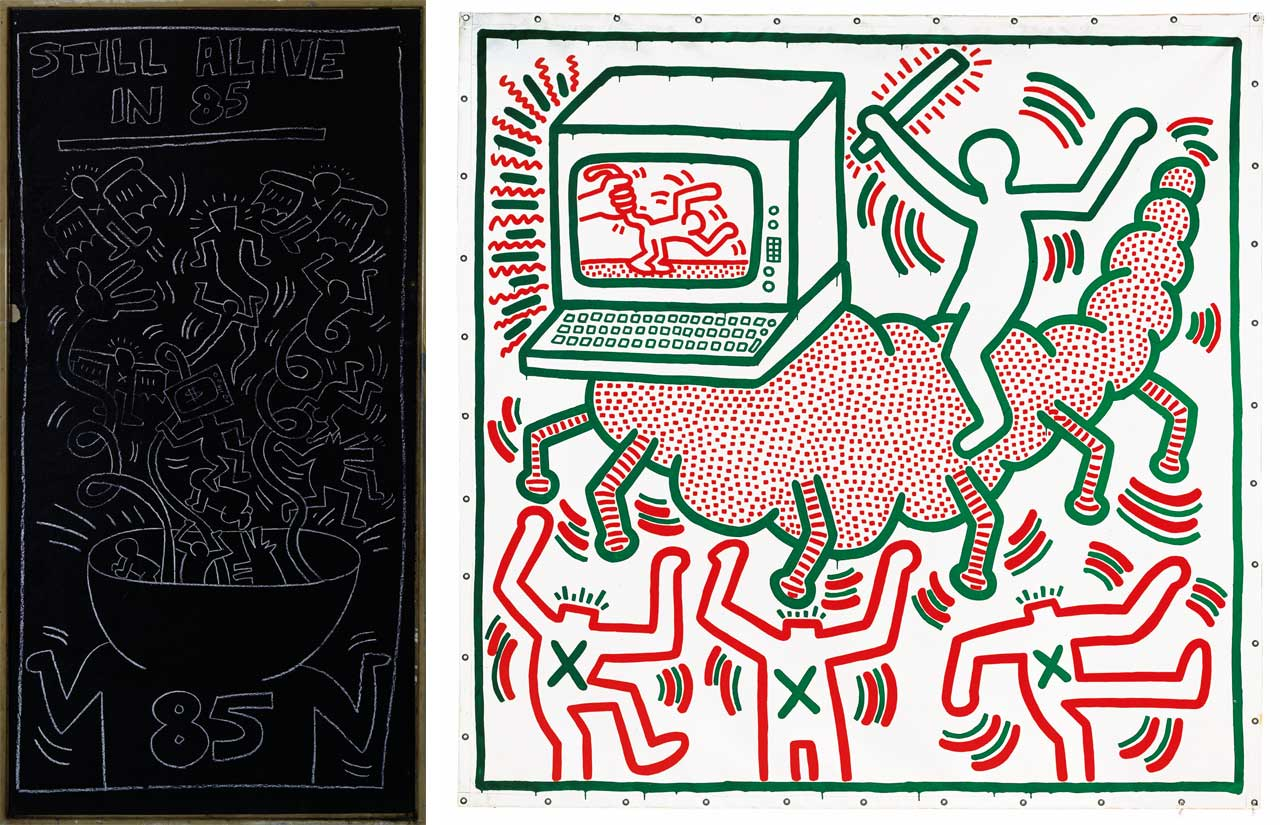 Left: Keith Haring, Untitled, 1985. Chalk on paper, 