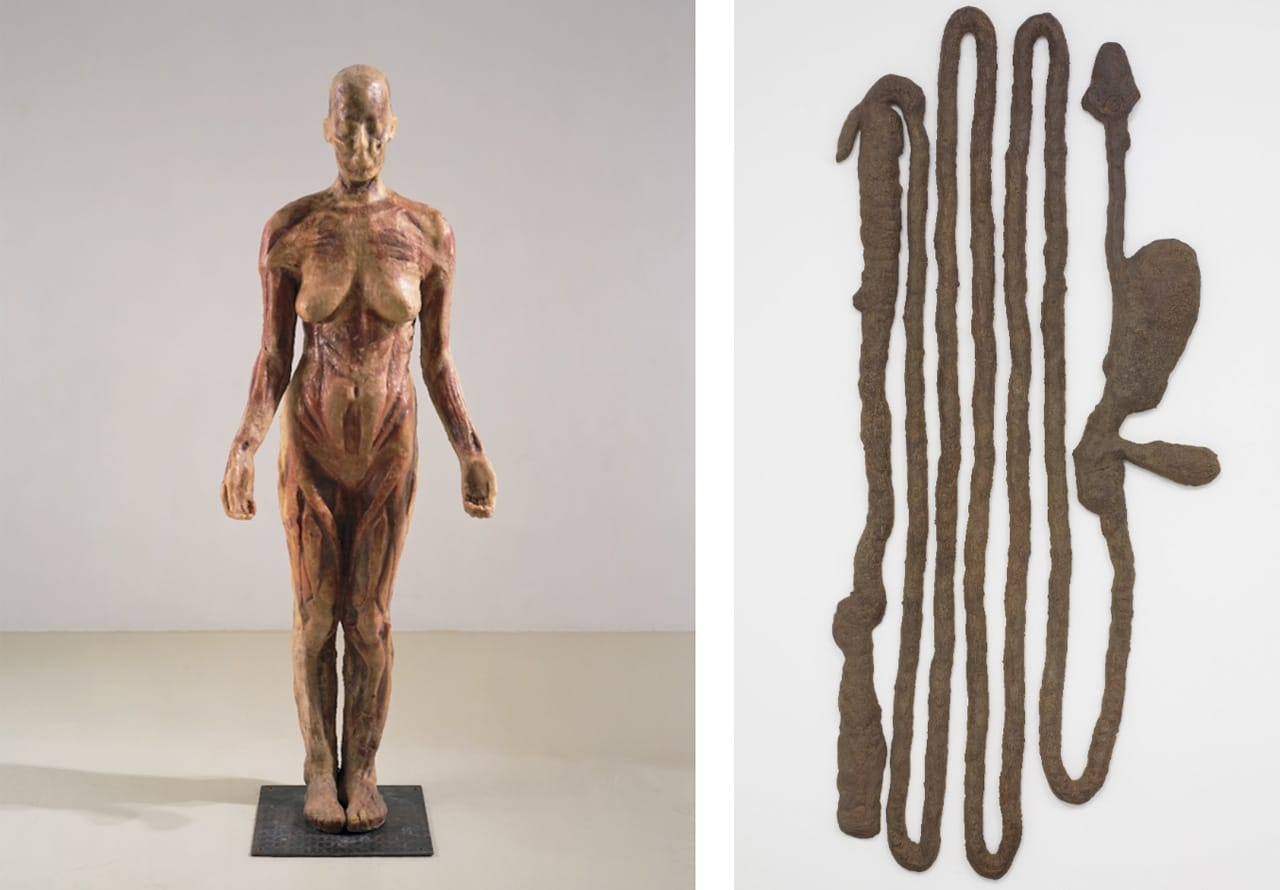 On the left Kiki Smith, Virgin Mary, 1992 and on the right Kiki Smith, Digestive System, 1988