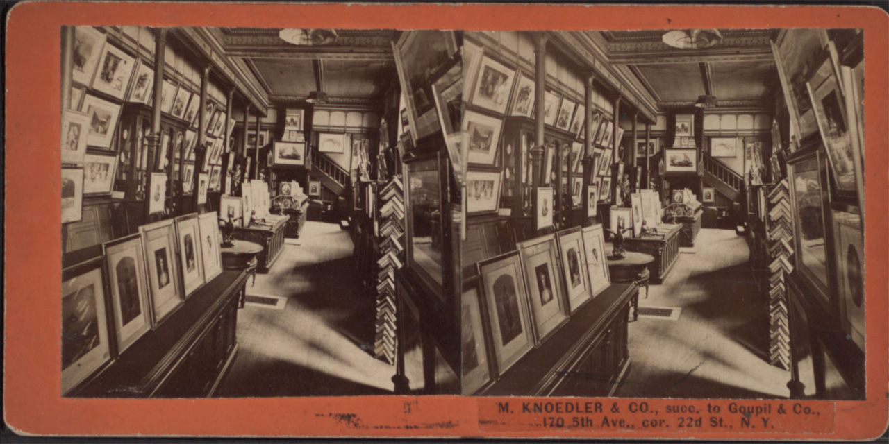 Stereoscopic photograph of the Knoedler Gallery interior, c.1860–80