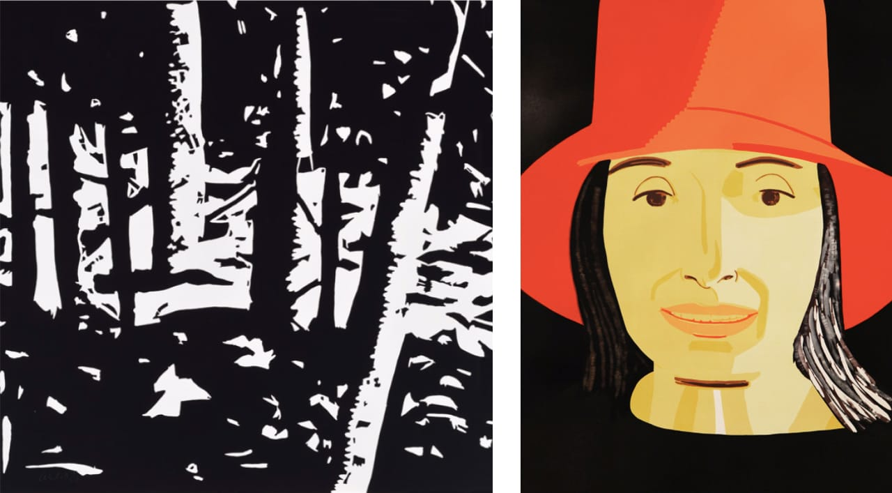 Left: Alex Katz, Maine Woods II, 2015. Right: Alex Katz  Red Hat Ada, 2015