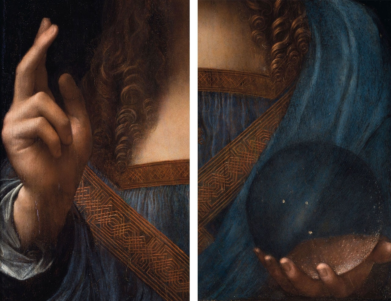 On the left Leonardo da Vinci, Salvator Mundi, detail of right hand and on the right Leonardo da Vinci, Salvator Mundi, detail of left hand holding orb