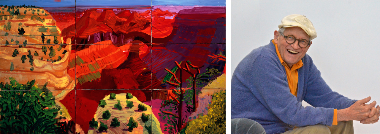 On the left David Hockney, 9 Canvas Study of the Grand Canyon, 1998 and on the right David Hockney, Los Angeles, March 2016