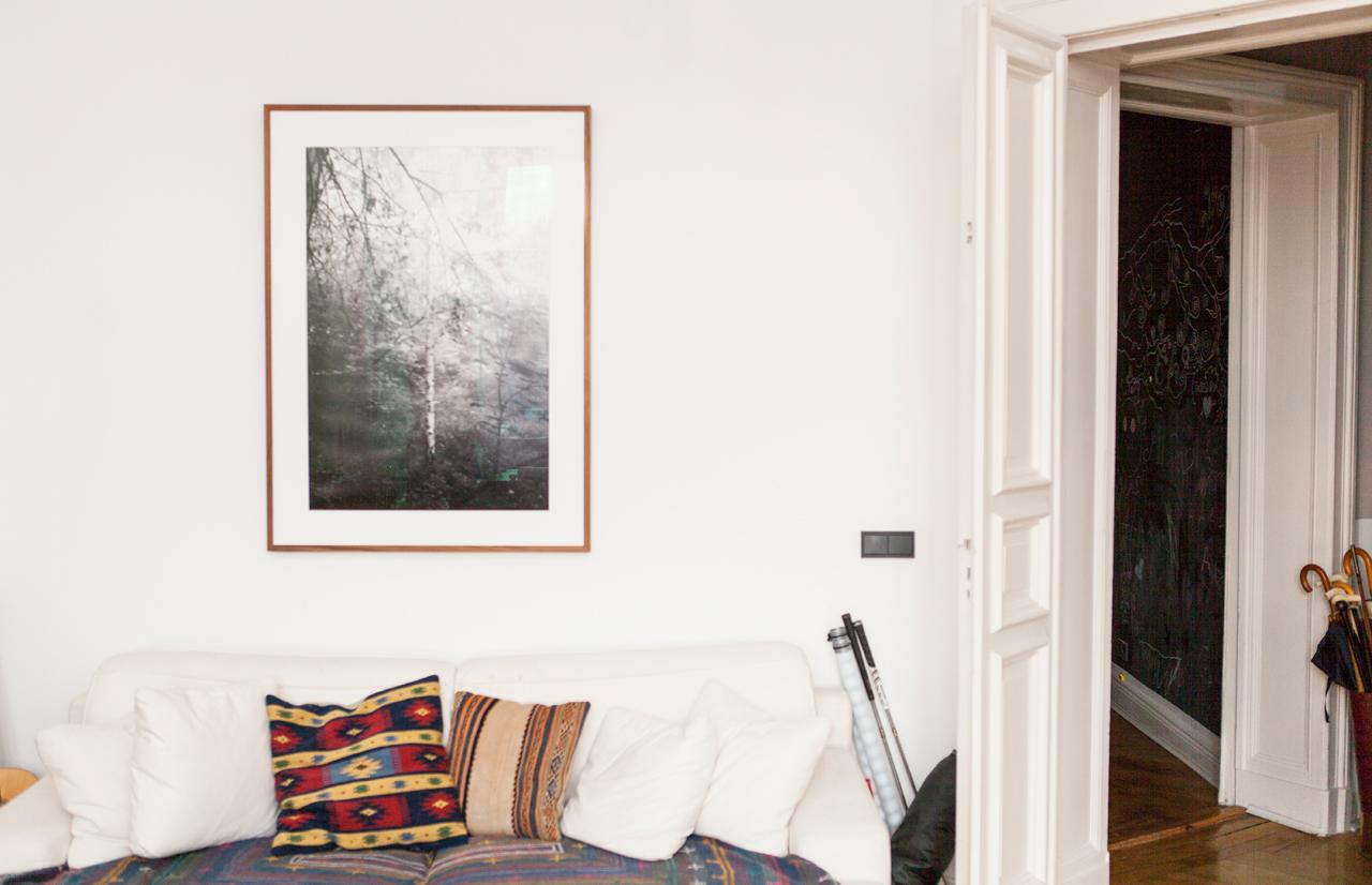 Wald Apparat Braun I, 2013 by Julius von Bismarck hanging above the sofa