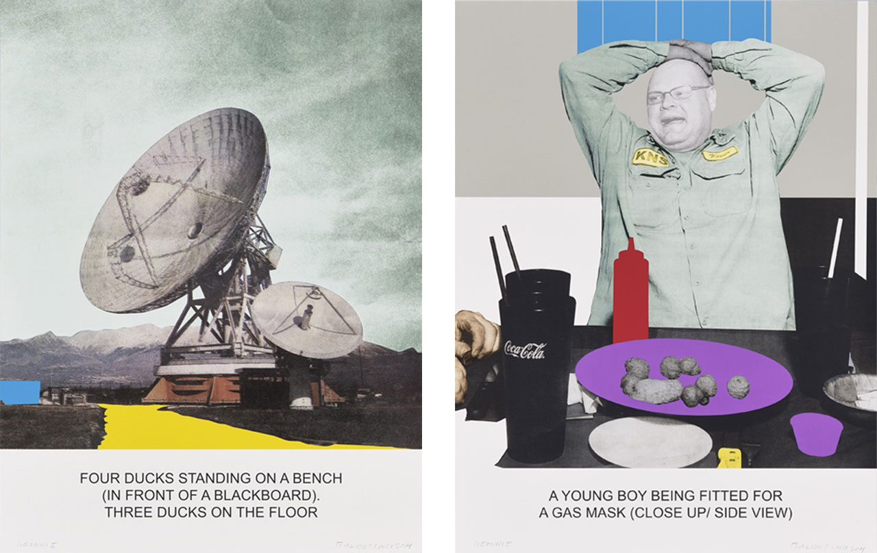 on the left John Baldessari, The News: Four Ducks Standing on a Bench, 2014 and on the right John Baldessari, The News: A Young Boy Being Fitted for a Gas Mask, 2014