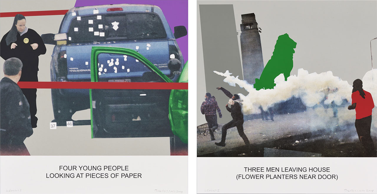 On the left John Baldessari, Four Young People Looking at Pieces of Paper, 2014 and on the right John Baldessari, The News: Three Men Leaving House..., 2014