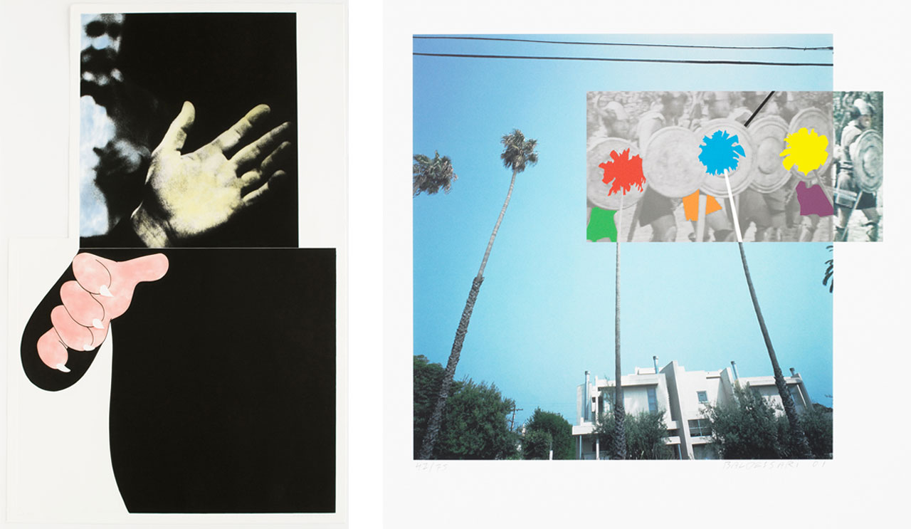 On the left John Baldessari, Two Hands (With Distant Figure), 1989-90, and on the right John Baldessari, The Overlap Series: Palmtrees and Building (with Vikings), 2014