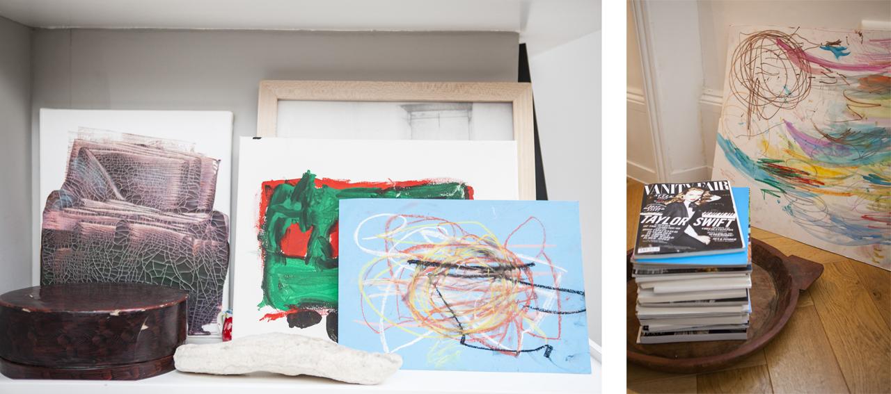 Paintings on a bookshelf