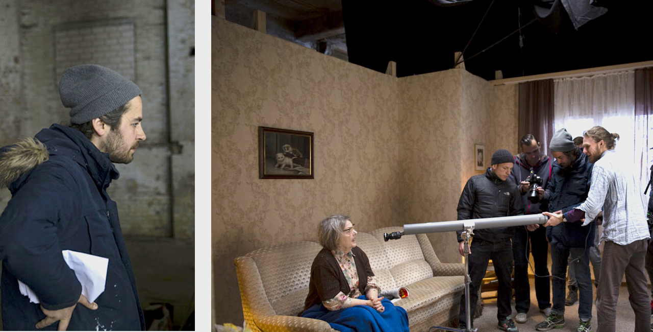 Director Sandin Puce preparing a close up shot of Friederike Frerichs who plays Ben Becker's mother. Image: © Petrov Ahner