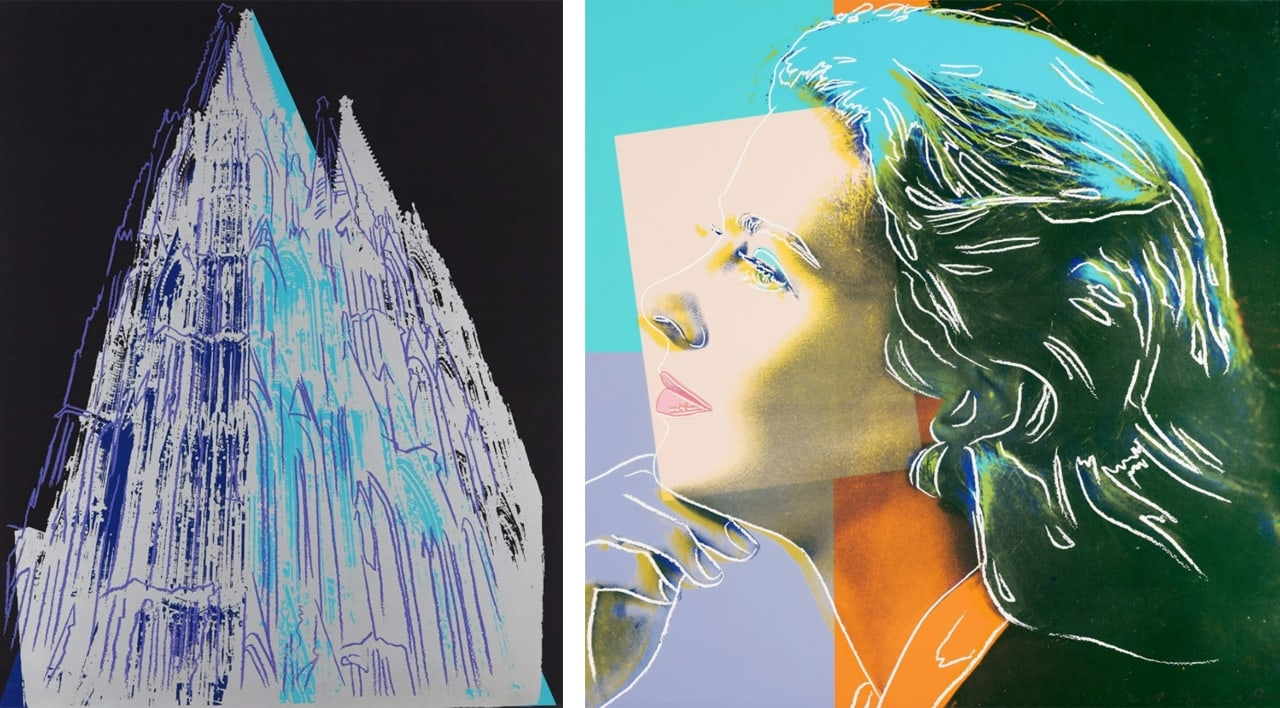 On the left Andy Warhol, Cologne Cathedral, 1985 and on the right Andy Warhol, Ingrid Bergman, Herself FS II.313, 1983
