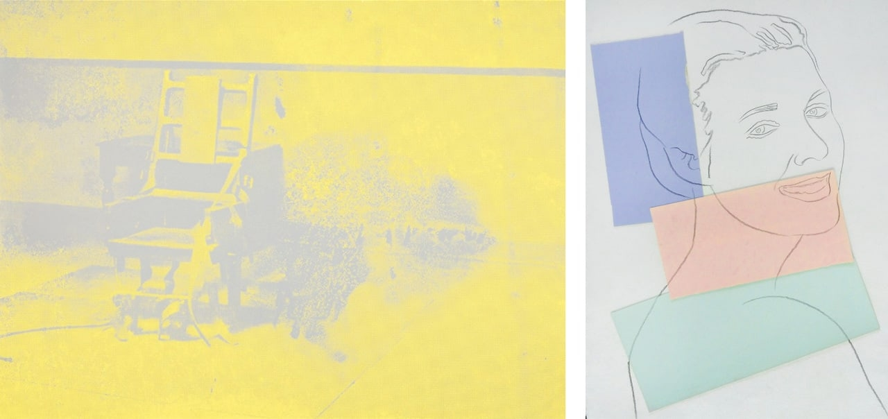 On the left Andy Warhol, Electric Chair, 1971 and on the right Andy Warhol, Presumed Portrait of Antoine Grunn (Female Portrait) with blue, pink and green, 1982