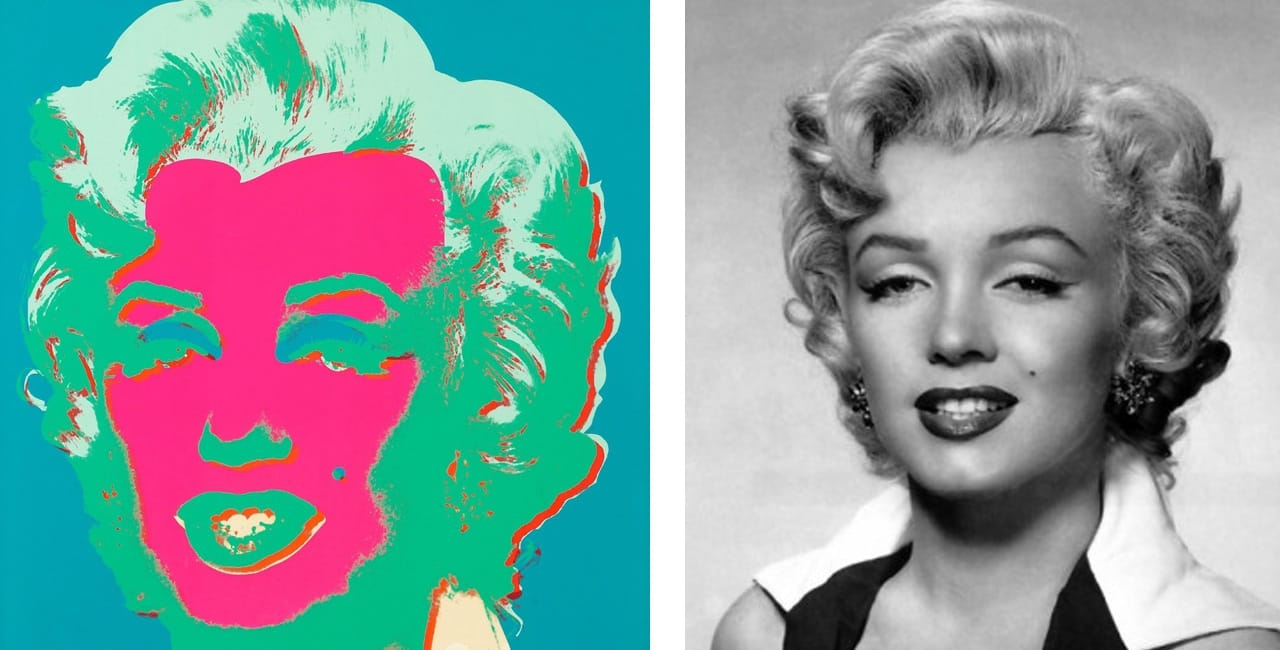 On the left Andy Warhol, Marilyn, 1967 and on the right the original publicity still from the Marilyn Monroe's film Niagara taken