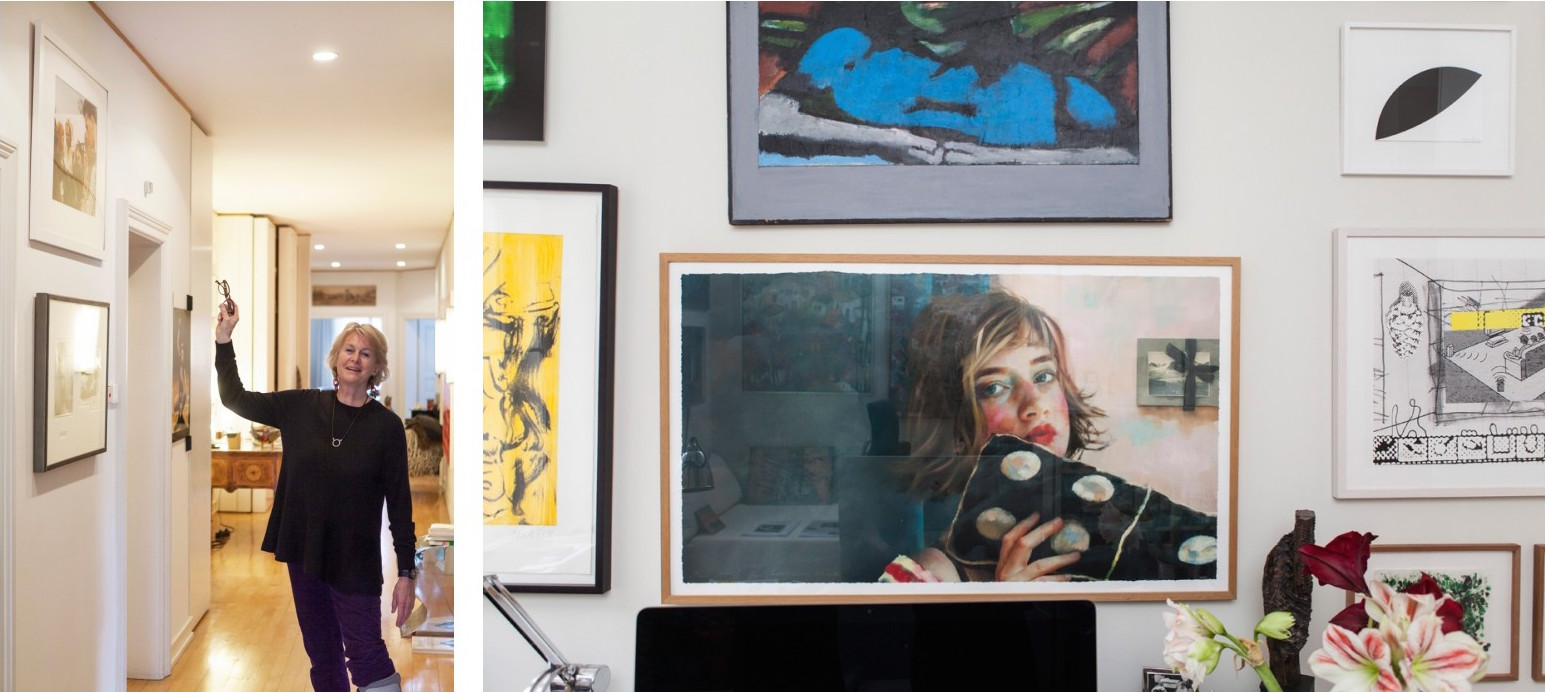 Painting on the right by Xenia Hausner, Take Five.