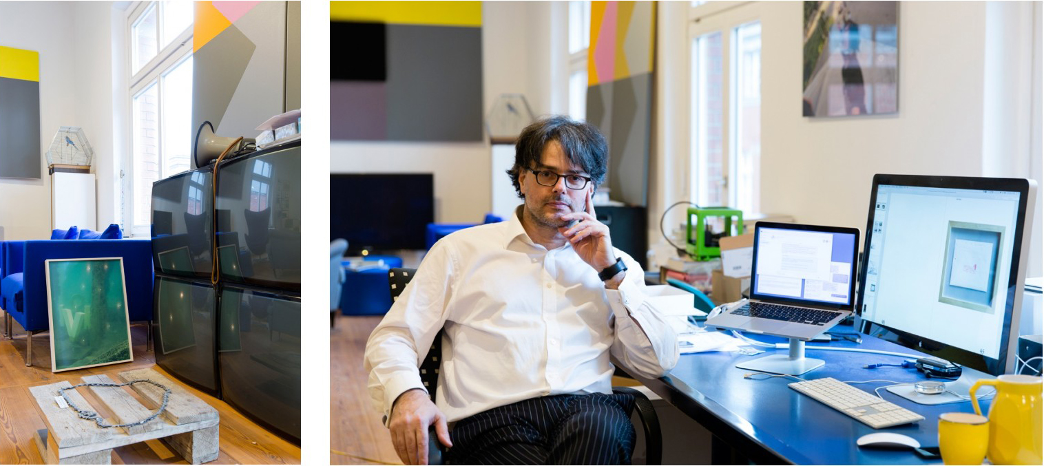 Left: Martin Kippenberger's Grüsse vom Müttergenesungswerk Massaker. Ivo Wessel sitting at his desk in front of picture of Ottmar Hörl's Bohrstaub (Drilling Dust), a gift from the artist. Images: © Petrov Ahner