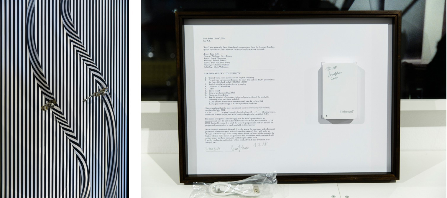 Left: Julio Le Parc <i>Mobile</i>. Right: A Sven Johne Certificate of Authenticity for his video work Jutta. Images: © Petrov Ahner