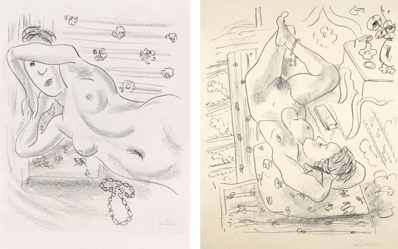Left: Henri Matisse, Torse nu au collier d'ambre, 1929. Right: Henri Matisse, Nu renversé près d'une table Louis XV, 1929. Available to buy on fineartmultiple