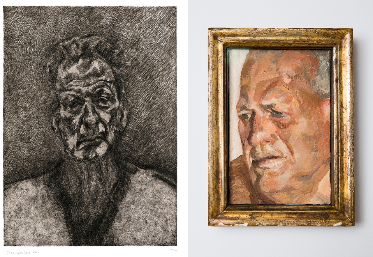 Lucian Freud, Kai and on the right Portrait of Sir John Richardson by Lucian Freud